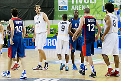 Players after basketball match between National teams of France and Belgium at Day 6 of Eurobasket 2013 on September 9, 2013 in Tivoli Hall, Ljubljana, Slovenia. (Photo By Urban Urbanc / Sportida)