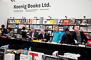 Koenig Books stall. Visitors and exhibitors at the many galleries exhibiting at the Frieze Art Fair 2010. This art fair is for work at the high end of international contemporary art with many well known artists on show from many of the world's most reknowned dealers.