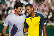 Paris, France. Roland Garros. June 4th 2013.<br /> French player Jo-Wilfried TSONGA (right) won against Roger FEDERER