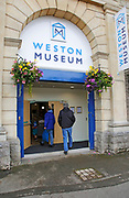 Entrance doorway to Weston-super-Mare museum, Somerset, England, UK