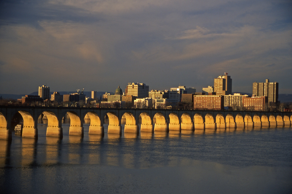 Harrisburg, PA, City Skyline, Susquehanna River Reflections, Railroad Bridge Arches, Evening Light