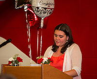 Cheyenne Simkins honored her math teacher Mrs. Rebekah Patel during the LHS Top Ten senior dinner held at the Huot Center Tuesday evening.  (Karen Bobotas/for the Laconia Daily Sun)