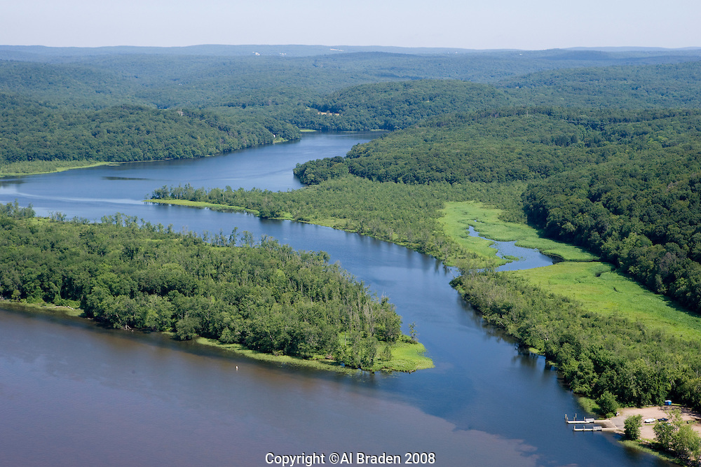 Aerial of entrance to Salmon Cove where it enters the Connecticut River, East Haddam, CT