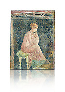 Roman fresco wall painting of a women thinking from the Villa Arianna (Adriana), Stabiae (Stabia) near Pompeii , inv 9097, Naples National Archaeological Museum , white background .<br /> <br /> If you prefer to buy from our ALAMY PHOTO LIBRARY  Collection visit : https://www.alamy.com/portfolio/paul-williams-funkystock - Scroll down and type - Roman Fresco Naples  - into LOWER search box. {TIP - Refine search by adding a background colour as well}.<br /> <br /> Visit our ROMAN ART & HISTORIC SITES PHOTO COLLECTIONS for more photos to download or buy as wall art prints https://funkystock.photoshelter.com/gallery-collection/The-Romans-Art-Artefacts-Antiquities-Historic-Sites-Pictures-Images/C0000r2uLJJo9_s0