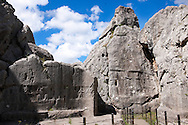Picture of Yazilikaya [ i.e written riock ], Hattusa The largest known Hittite sanctuary. 13th century BC made in the reign of Tudhaliya 1V .1<br /> <br /> If you prefer to buy from our ALAMY PHOTO LIBRARY  Collection visit : https://www.alamy.com/portfolio/paul-williams-funkystock/yazilikaya-hittite-sanctuary-hattusa.html<br /> <br /> Visit our ANCIENT WORLD PHOTO COLLECTIONS for more photos to download or buy as wall art prints https://funkystock.photoshelter.com/gallery-collection/Ancient-World-Art-Antiquities-Historic-Sites-Pictures-Images-of/C00006u26yqSkDOM