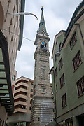Church clock tower, St. Moritz, Switzerland