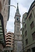 Church clock tower, St. Moritz, Switzerland