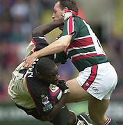 Leicester, Leicestershire, 3rd May 2003, Welford Road Stadium, [Mandatory Credit: Peter Spurrier/Intersport Images],Zurich Premiership Rugby - Leicester Tigers v London Irish<br /> Paul Sackey tackles by Glenn Gelderbloom