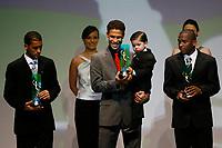 "20091207: RIO DE JANEIRO, BRAZIL - Brazilian Football Awards 2009 (""Craque Brasileirao 2009""), held at the Museum of Modern Art in Rio de Janeiro. In picture: L-R - Pierre (Palmeiras, 2nd), Hernanes (Sao Paulo) - Best central midfielder- right side, Willians (flamengo, 3rd). PHOTO: CITYFILES"