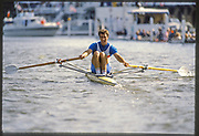 Henley, Great Britain,  1988 Henley Royal Regatta, Henley Reach, River Thames, Annual Event. [Mandatory credit: Peter Spurrier/Intersport Images], <br /> Diamond Challenge Sculls, Heat. M. POLLECUTT, Thames Tradesman RC.