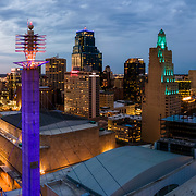 Kansas City Missouri downtown area in April 2021. Convention Center and Skystations.