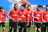 Ashley Williams (l) and Neil Taylor © of Wales warm up during the   Wales football team training at the Cardiff City Stadium in Cardiff, South Wales on Wed 23rd March 2016. The team are preparing for their forthcoming friendly against Northern Ireland.<br /> pic by  Andrew Orchard, Andrew Orchard sports photography.