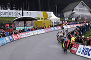 Belgium, Sunday 13th December 2015: Riders tackle the Raidillon climb during the elite men's race at the Hansgrohe Superprestige cyclocross event at Spa Francorchamps.<br /> <br /> Copyright 2015 Peter Horrell