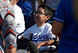 """June 24, 2017 - Los Angeles, California, U.S. - Lazaro Ã'ZiggyÃ"""" Monarrez of the Make a Wish Foundation who is the co-manager of the game prior to a Major League baseball game between the Colorado Rockies and the Los Angeles Dodgers at Dodger Stadium on Saturday, June 24, 2017 in Los Angeles. Los Angeles. (Photo by Keith Birmingham, Pasadena Star-News/SCNG) (Credit Image: © San Gabriel Valley Tribune via ZUMA Wire)"""