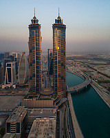 Aerial view of the Emirates clinic building close by the canal in Dubai, U.A.E.