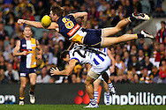 SPORT<br /> Paul Kane<br /> Getty Images<br /> Beau Waters of the Eagles attempts to spoil the mark for Brent Harvey of the Kangaroos during the round eight AFL match between the West Coast Eagles and the North Melbourne Kangaroos.