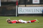 Crewe Alexandra forward, on loan from Chelsea, Alex Kiwomya (22) sees the funny side of falling over during the EFL Sky Bet League 2 match between Crewe Alexandra and Doncaster Rovers at Alexandra Stadium, Crewe, England on 3 September 2016. Photo by Simon Davies.