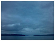 Hood Canal with the Toandos Peninsula on the left and Kitsap Peninsula on the right - Puget Sound, Washington state, USA