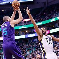27 January 2016: Charlotte Hornets guard Nicolas Batum (5) takes a jump shot over Utah Jazz forward Derrick Favors (15) during the Utah Jazz 102-73 victory over the Charlotte Hornets, at the Vivint Smart Home Arena, Salt Lake City, Utah, USA.
