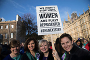 Women MPs from the Labour Party gather outside the Houses of Parliament to celebrate the 100th anniversary of the Suffragette movement and women's right to vote on 6th February 2018 in London, England, United Kingdom. Today marks 100 years since the Representation of the People Act was passed, granting women the right to vote for the first time. In the UK in the early 20th century the suffragettes initiated a campaign of demonstrations and militant action, under the leadership of the Pankhursts, after the repeated defeat of women's suffrage bills in Parliament. In 1918 they won the vote for women over the age of 30, and ten years later were given full equality with men in voting rights.