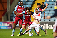 Eoin Doyle brought down in the box during the EFL Sky Bet League 2 match between Scunthorpe United and Bolton Wanderers at the Sands Venue Stadium, Scunthorpe, England on 24 November 2020.