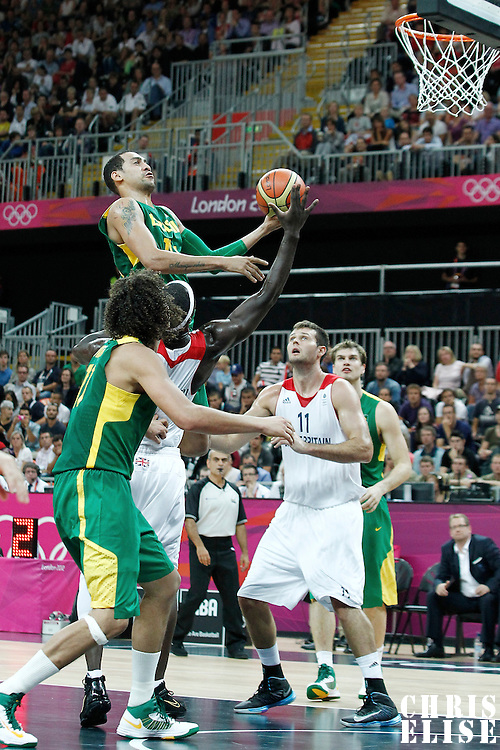 31 July 2012: Brazil Marquinhos Vieira Sousa goes for the layup during 67-62 Team Brazil victory over Team Great Britain, during the men's basketball preliminary, at the Basketball Arena, in London, Great Britain.