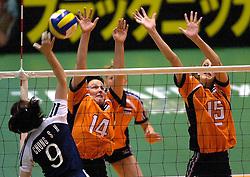 22-06-2000 JAP: OKT Volleybal 2000, Tokyo<br /> Nederland - Korea 3-1 / Riette Fledderus en Ingrid Visser