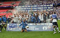 Preston North End celebrate winning the League one play off final <br /> <br /> Photographer Ian Cook/CameraSport<br /> <br /> Football - The Football League Sky Bet League One Play-Off Final - Preston North End v Swindon Town - Sunday 24th May 2015 - Wembley Stradium - London<br /> <br /> © CameraSport - 43 Linden Ave. Countesthorpe. Leicester. England. LE8 5PG - Tel: +44 (0) 116 277 4147 - admin@camerasport.com - www.camerasport.comt