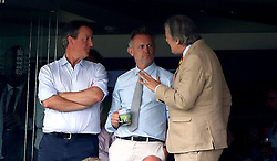 David Cameron (left) and Stephen Fry (right) in stands during the ICC Cricket World Cup group stage match at Lord's, London.