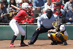 26 April 2015:   Batting for the Redbirds is Payton Billups (catching for the Ramblers is Annie Korth, home plate umpire is Steve McCrillis) during an NCAA Missouri Valley Conference (MVC) Championship series women's softball game between the Loyola Ramblers and the Illinois State Redbirds on Marian Kneer Field in Normal IL