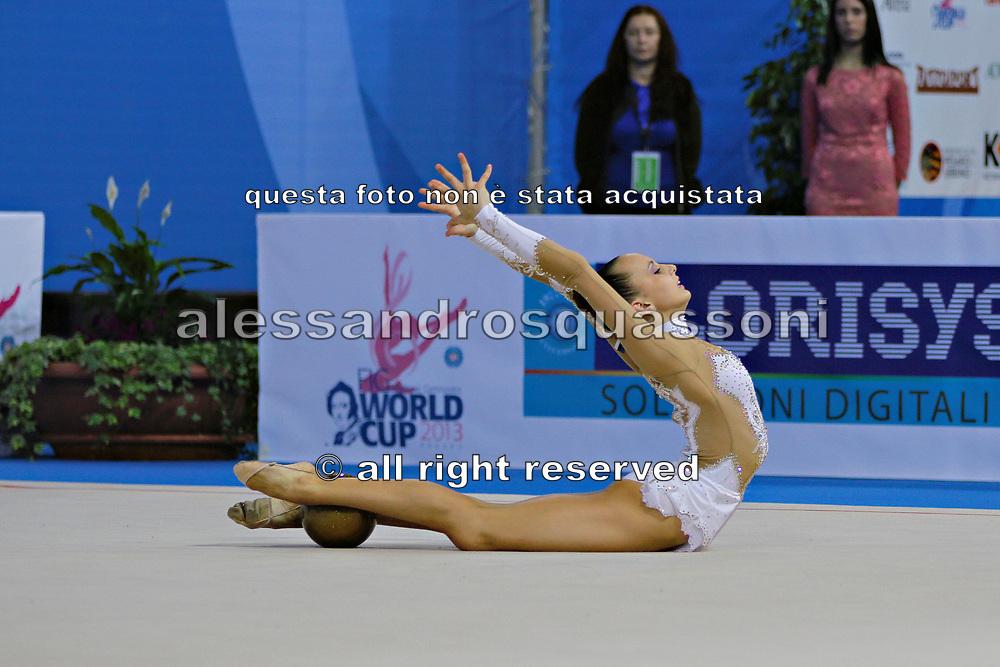 Jerõgina Karina during qualifying at ball in Pesaro World Cup at the Adriatic Arena on April 27, 2013. Karina is an Estonian individual gymnast born January 7, 1997 in Tallin, Estonia.