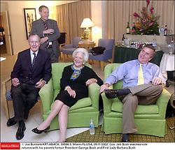 © Joe Burbank/KRT/ABACA. 39596-3. Miami-FL-USA, 05/11/2002. Gov. Jeb Bush watches vote returns with his parents former President George Bush and First Lady Barbara Bush.  | 39596_03
