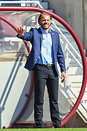 Heart of Midlothian manager Robbie Neilson gestures during the SPFL Championship match between Heart of Midlothian and Inverness CT at Tynecastle Park, Edinburgh Scotland on 24 April 2021.