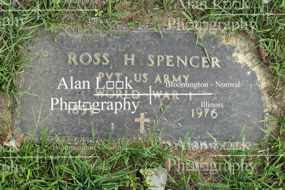 31 August 2017:   Veterans graves in Park Hill Cemetery in eastern McLean County.<br /> <br /> Ross H Spencer  Private US Army  World War I  1891  1976