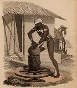 Indian potter throwing a vessel on a kick-wheel.  Hand-coloured engraving published Rudolph Ackermann, London, 1822.