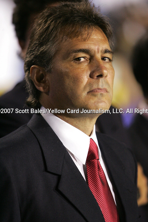 27 March 2007: El Salvador head coach Carlos de los Cobos. The National Team of Honduras defeated the National Team of El Salvador 2-0 at SAS Stadium in Cary, North Carolina in an International Friendly soccer match.
