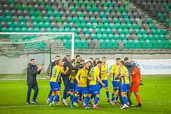 Players of NK Koper celebrating the win of the match of 11th Round of Prva liga Telekom Slovenije between NK Olimpija Ljubljana and NK Koper, on 07.11.2020 on Stadium Stozice in Ljubljana, Slovenia. Photo by Urban Meglič / Sportida
