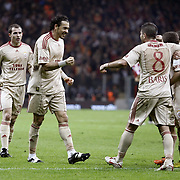 Galatasaray's Servet CETIN (C) celebrate his goal with team mate  during their Turkish Superleague soccer match Galatasaray between Sivasspor at the Turk Telekom Arena at Aslantepe in Istanbul Turkey on Sunday 23 January 2011. Photo by TURKPIX