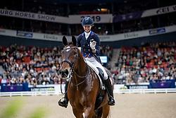GRAVES Laura (USA), Verdades <br /> Göteborg - Gothenburg Horse Show 2019 <br /> FEI Dressage World Cup™ Final II<br /> Grand Prix Freestyle/Kür<br /> Longines FEI Jumping World Cup™ Final and FEI Dressage World Cup™ Final<br /> 06. April 2019<br /> © www.sportfotos-lafrentz.de/Stefan Lafrentz