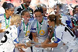17.05.2014, Rhein-Energie Stadion, Koeln, GER, DFB Pokal, Frauen, 1. FFC Frankfurt vs SGS Essen, Finale, im Bild vorne von links: Saskia Barusiak (1. FFC Frankfurt #25), Ana-Maria Crnogorceviz (1. FFC Frankfurt #21), Peggy Kuznik (1. FFC Frankfurt #27) und Fatmire Alushi (1. FFC Frankfurt #19)<br /> <br /> 1. FFC Frankfurt vs SGS Essen --- Frauen Fussball --- DFB Pokal Finale --- 17.05.2014, Foto: Eibner // during the woman DFB Pokal final match between 1. FFC Frankfurt and SGS Essen at the Rhein-Energie Stadion in Koeln, Germany on 2014/05/17. EXPA Pictures © 2014, PhotoCredit: EXPA/ Eibner-Pressefoto/ Schueler<br /> <br /> *****ATTENTION - OUT of GER*****