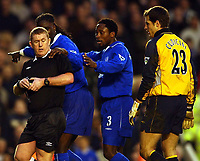 Photo. Javier Garcia<br />08/03/2003 Arsenal v Chelsea, FA Cup Quarter Final, Highbury<br />As Carlo Cudicini awaits his fate, Mario Melchiot and Celestine Babayaro point out that Francis Jeffers was moving away from goal for the penalty