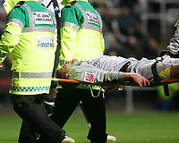 Photo: Andrew Unwin.<br />Newcastle United v Southampton. The FA Cup. 18/02/2006.<br />Southampton's goalkeeper, Bartosz Bialkowski, is stretchered off the field.