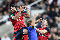 Piers Francis of England claims the high ball<br /> <br /> Photographer Craig Thomas/Replay Images<br /> <br /> Quilter International - England v Italy - Friday 6th September 2019 - St James' Park - Newcastle<br /> <br /> World Copyright © Replay Images . All rights reserved. info@replayimages.co.uk - http://replayimages.co.uk