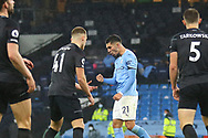 GOAL 4-0 Manchester City midfielder Ferrán Torres (21) scores a goal and celebrates during the Premier League match between Manchester City and Burnley at the Etihad Stadium, Manchester, England on 28 November 2020.