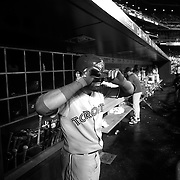 Jose Bautista, Toronto Blue Jays, in the dugout preparing to bat during the New York Mets Vs Toronto Blue Jays MLB regular season baseball game at Citi Field, Queens, New York. USA. 16th June 2015. Photo Tim Clayton