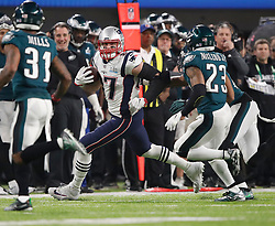 New England Patriots tight end Rob Gronkowski runs down the field after making a catch in Super Bowl LII Sunday, February 4, 2018 in Minneapolis, Minn. The Eagles won, 41-33. Photo by Carlos Gonzalez/Minneapolis Star Tribune/TNS/ABACAPRESS.COM