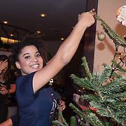 NLD/Hilversum /20131210 - Sky Radio Christmas Tree For Charity 2013, Julia van den Toorn versierd haar boom