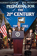 President Bill Cllinton discusses the computer glitch known as the Year 2000 problem or by it's acronym 'Y2K' during a speech at the National Academy of Science July 14, 1998 in Washington, DC. The glitch involves the failure of computer software to recognize the year 2000 and can potentially cause massive problems in government and industry.