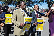 NAACP President,  Cornell William Brooks and five other members of the civil rights group along with dozens of supporters march to Jeff Sessions' office.  A group of six   occupied Sessions' office on Jan, 3, 2017 ago . A few hours after tresspasing charges against them were dropped in a Mobile court on Jan. 30, they returned to Sessions' office and were arrested again.