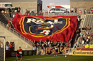 August 4, 2012: Fans of Real Salt Lake hold up a huge banner prior to  the first half of the Colorado Rapids and Salt Lake MLS game at Dick's Sporting Goods Park in Denver, Colorado